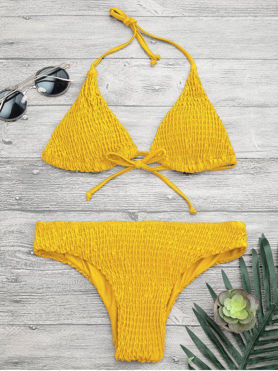 Gepolsterte Smcoked Bikini Top und Unterteile - Gelb L