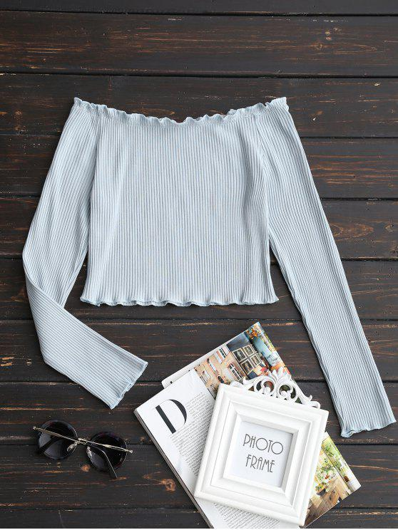 new Off The Shoulder Ruffle Trim Crop Tee - CLOUDY M