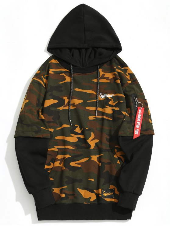shop Pouch Pocket Pullover Hoodie Men Clothes - ACU CAMOUFLAGE M