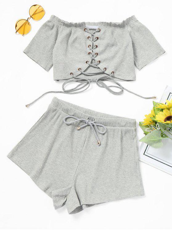 Fora do ombro Lace Up Top e Shorts Set - Cinza Claro M