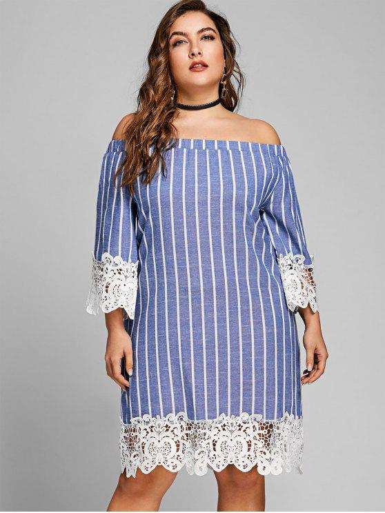 fashion Striped Plus Size Off The Shoulder Dress - BLUE XL