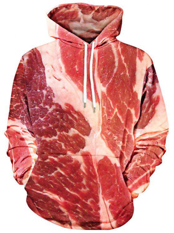 Casaco Encapuzado com Bolsos Canguru e Estampa de Carne - Vermelho XL