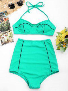 Halter High Waisted Bikini Set - Lake Green S