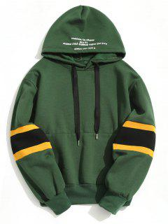Pullover Contrast Color Hoodie - Green M