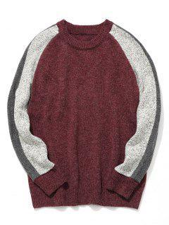 Mens Colorblock Sweater - Claret Xl