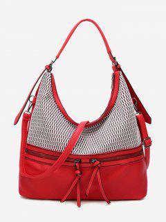 Contrasting Color Faux Leather Shoulder Bag - Red