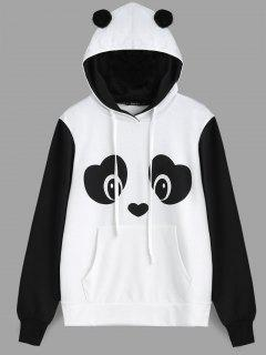 Panda Face Kangaroo Pocket Hoodie - Black White M