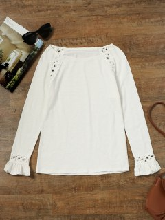 Raglan Sleeve Crochet Panel Top - White L