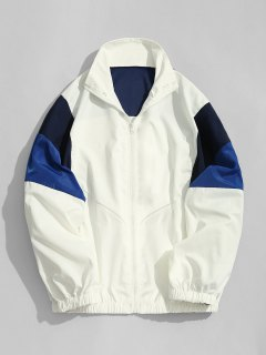 Striped Color Block Windbreaker Jacket - White