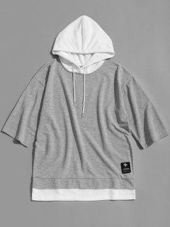 Half Sleeve Two Tone Hoodie - Gray Xl