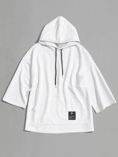 Label Kangaroo Pocket Hoodie - White L