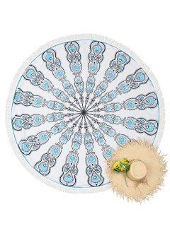 Round Tassels Mandala Beach Throw - White