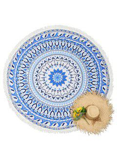 Round Mandala Tassels Beach Throw - Blue