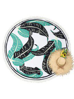 Round Leaf Print Tassels Beach Throw - White