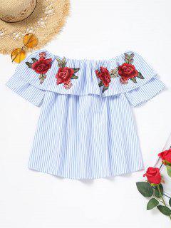 Floral Appliques Flounce Striped Blouse - Light Blue S