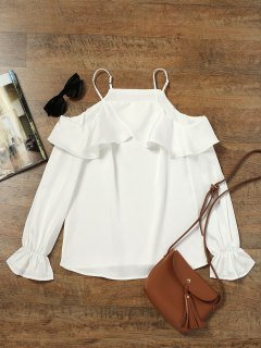 Cold Shoulder Ruffle Blouse - White