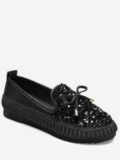 Zapatos De Mocasines De Diamantes De Imitación De Arco - Negro 38