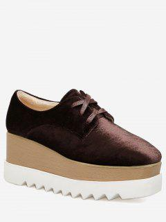 Wedge Mid Heel Casual Shoes - Wine Red 38