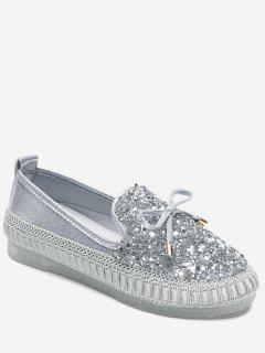 Bow Rhinestone Loafer Shoes - Silver 37