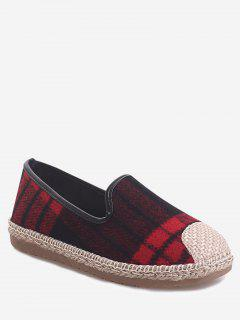 Plaid Espadrille Color Block Loafer Shoes - Red 39