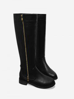 Side Zip Low Heel Mid Calf Boots - Black 38