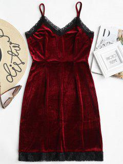 Lace Trim Velvet Cami Dress - Wine Red L