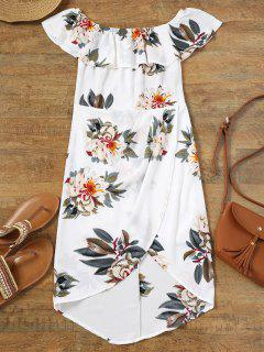 Off Shoulder Flounce Floral Asymmetric Dress - White L