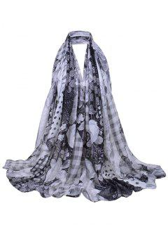 Floral Blooms Pattern Long Sheer Scarf - Black