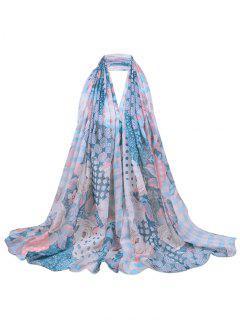 Floral Blooms Pattern Long Sheer Scarf - Light Blue