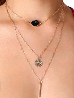 Natural Stone Bar Collarbone Layered Necklace - Pattern B