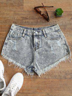Gerippte Ausgefranste Saum Bleichmittel Waschen Denim Shorts - Entfärbte Farbe M