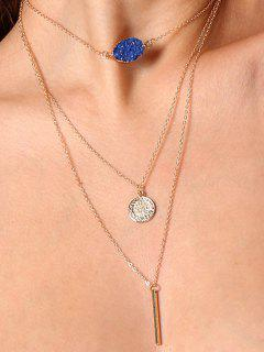 Natural Stone Bar Collarbone Layered Necklace - Pattern C