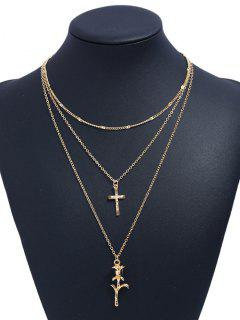 Valentines Day Rose Cross Layered Pendant Necklace - Golden