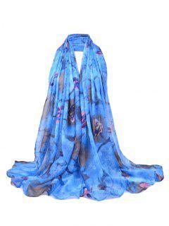 Soft Floral Pattern Lightweight Sheer Scarf - Blue