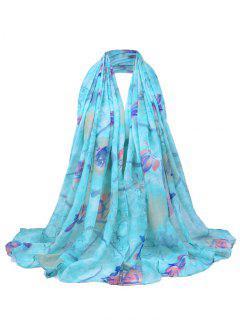 Bufanda Escarpada Ligera Del Estampado De Flores Suave - Azur