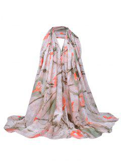 Soft Floral Pattern Lightweight Sheer Scarf - Apricot