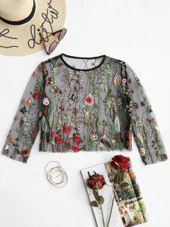 Floral Embroidered Sheer Mesh Blouse - Black Xl