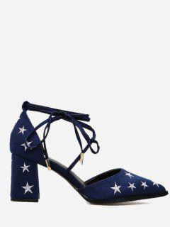 Stars Embroidery Ankle Strap Mid Heel Pumps - Blue 39