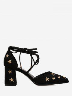 Stars Embroidery Ankle Strap Mid Heel Pumps - Black 37