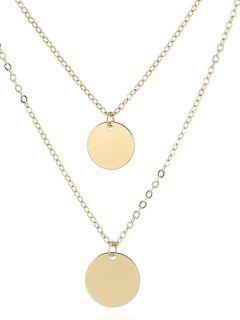 Geometrical Layered Alloy Pendant Necklace - Golden