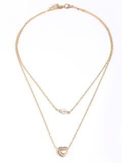 Valentines Day Heart Faux Pearl Layered Pendant Necklace - Golden