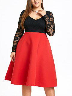 Plus Size Two Tone Swing Kleid - Rot 4xl