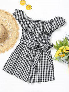 Off Shoulder Flounce Checked Belted Romper - Black White M