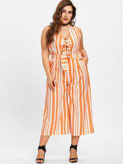 Plus Size Striped Wide Leg Jumpsuit - Orange + White 2xl