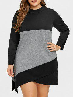 Robe T-shirt Asymétrique En T Color Block Plus Size - Noir Et Gris 5xl