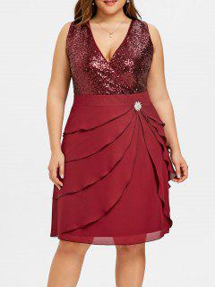 Robe à Volants En Tulle Avec Empiècements En Mousseline - Rouge Vineux  5xl
