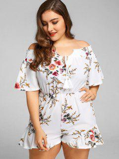 Off Shoulder Floral Plus Size Romper - White 4xl