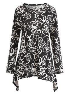 Robe Tunique Florale à Manches Longues Et Grande Taille - Noir 6xl