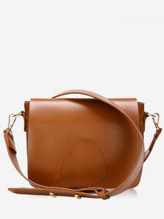 Flap Minimalist Faux Leather Crossbody Bag - Brown