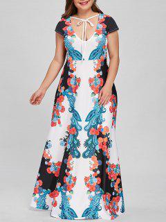 Robe De Soirée Fleurie à Taille Basse Et à Motif Paisley - 5xl